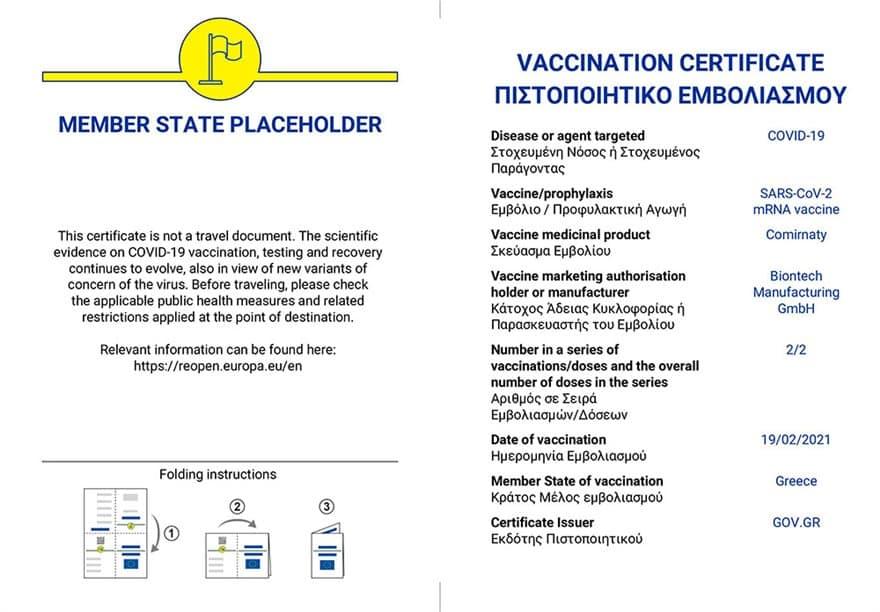 ψηφιακό πιστοποιητικό εμβολιασμού