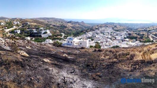Νάξος: Δύο σχεδόν ταυτόχρονες πυρκαγιές σε Τρίποδες και Αγγίδια μια ανάσα από κατοικημένες περιοχές (video+φώτος)